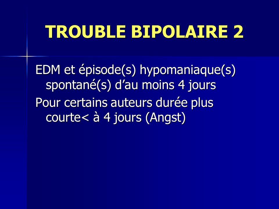 TROUBLE BIPOLAIRE 2 TROUBLE BIPOLAIRE 2 EDM et épisode(s) hypomaniaque(s) spontané(s) dau moins 4 jours Pour certains auteurs durée plus courte< à 4 j