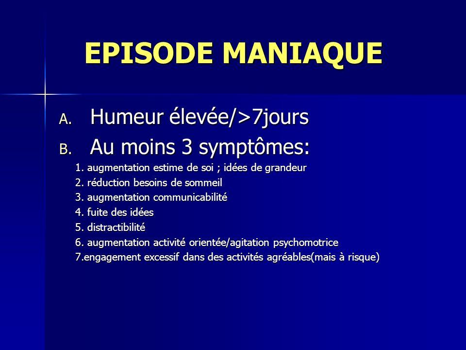 EPISODE MANIAQUE EPISODE MANIAQUE A. Humeur élevée/>7jours B. Au moins 3 symptômes: 1. augmentation estime de soi ; idées de grandeur 1. augmentation