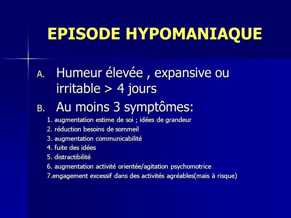 EPISODE HYPOMANIAQUE EPISODE HYPOMANIAQUE A. Humeur élevée, expansive ou irritable > 4 jours B. Au moins 3 symptômes: 1. augmentation estime de soi ;