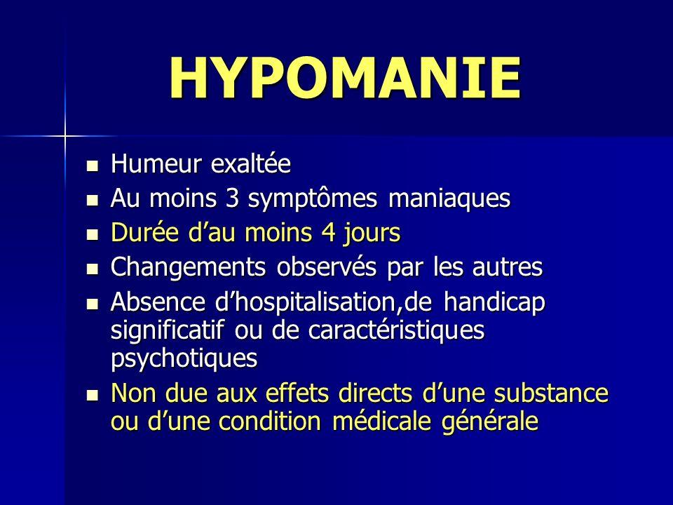 HYPOMANIE HYPOMANIE Humeur exaltée Humeur exaltée Au moins 3 symptômes maniaques Au moins 3 symptômes maniaques Durée dau moins 4 jours Durée dau moin