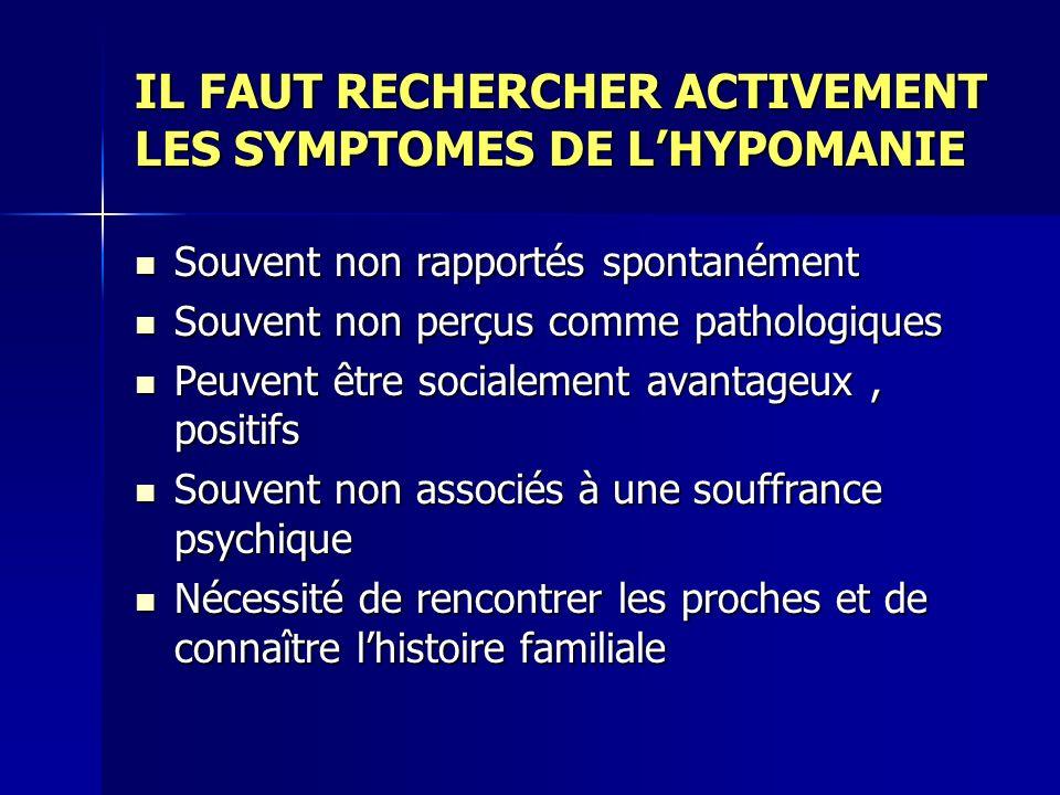 IL FAUT RECHERCHER ACTIVEMENT LES SYMPTOMES DE LHYPOMANIE Souvent non rapportés spontanément Souvent non rapportés spontanément Souvent non perçus com