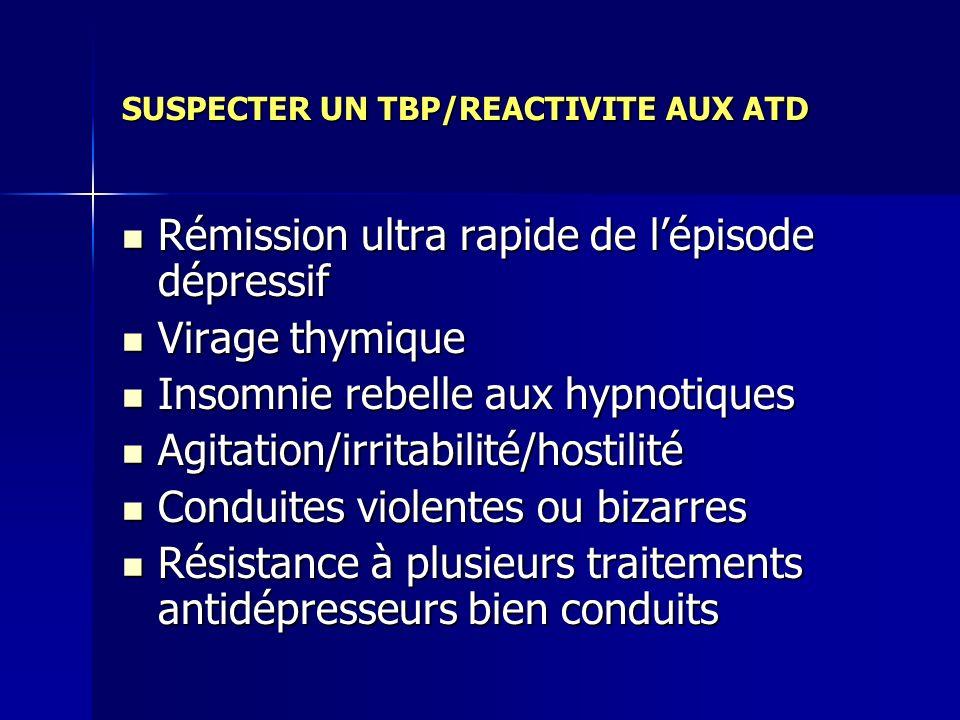SUSPECTER UN TBP/REACTIVITE AUX ATD Rémission ultra rapide de lépisode dépressif Rémission ultra rapide de lépisode dépressif Virage thymique Virage t