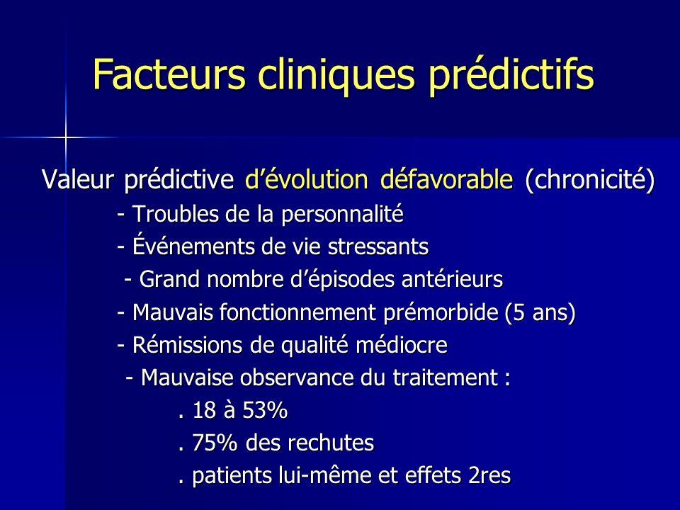 Valeur prédictive dévolution défavorable (chronicité) - Troubles de la personnalité - Troubles de la personnalité - Événements de vie stressants - Évé