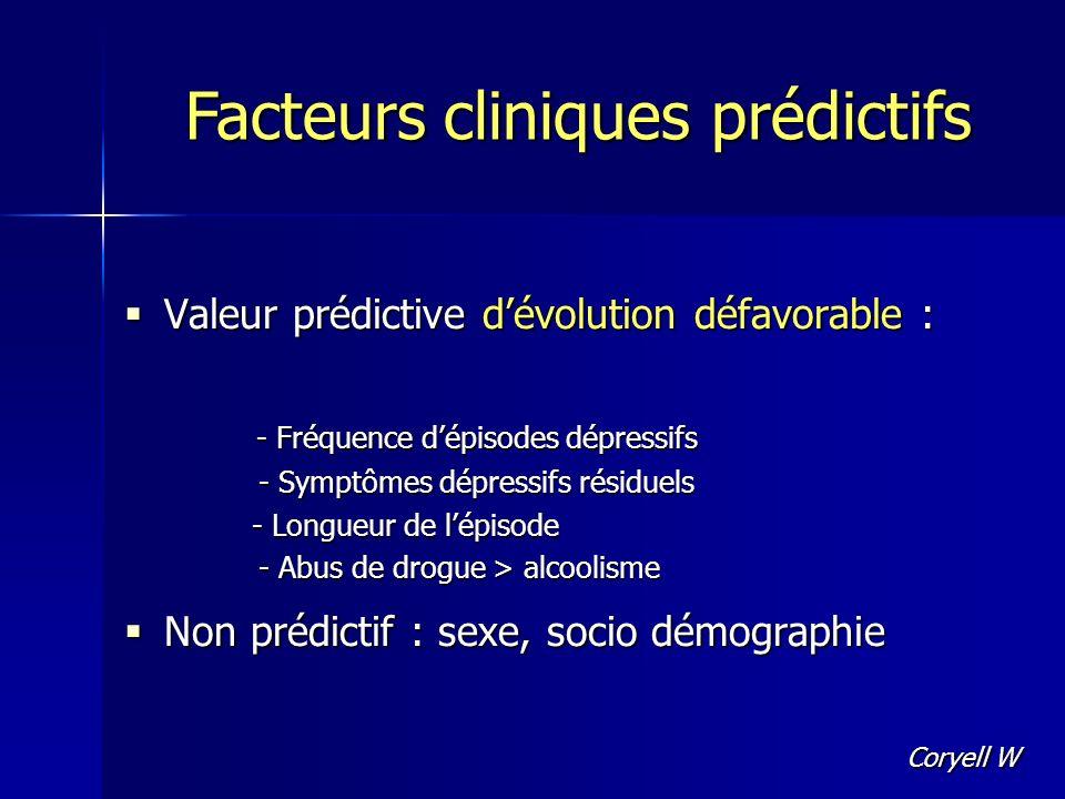Valeur prédictive dévolution défavorable : Valeur prédictive dévolution défavorable : - Fréquence dépisodes dépressifs - Fréquence dépisodes dépressif