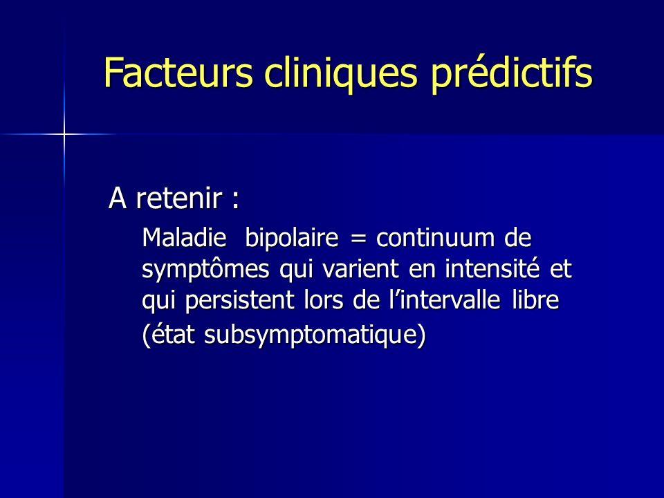 A retenir : Maladie bipolaire = continuum de symptômes qui varient en intensité et qui persistent lors de lintervalle libre (état subsymptomatique) Fa