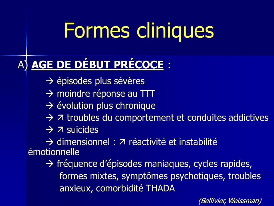 A) AGE DE DÉBUT PRÉCOCE : épisodes plus sévères épisodes plus sévères moindre réponse au TTT moindre réponse au TTT évolution plus chronique évolution