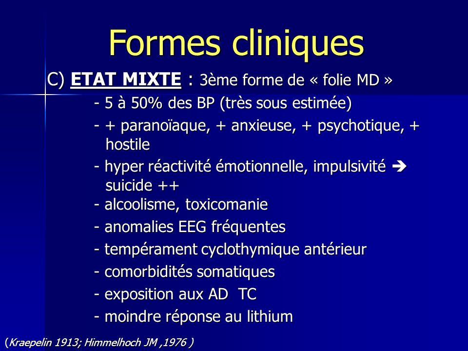 C) ETAT MIXTE : 3ème forme de « folie MD » - 5 à 50% des BP (très sous estimée) - + paranoïaque, + anxieuse, + psychotique, + hostile - hyper réactivi
