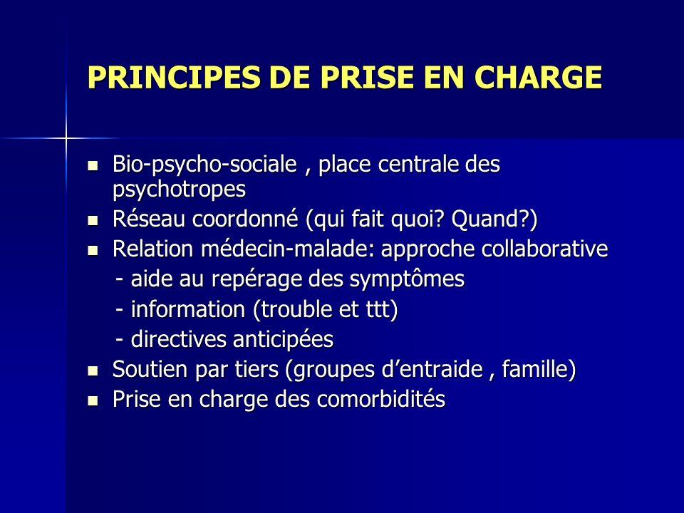 PRINCIPES DE PRISE EN CHARGE Bio-psycho-sociale, place centrale des psychotropes Bio-psycho-sociale, place centrale des psychotropes Réseau coordonné