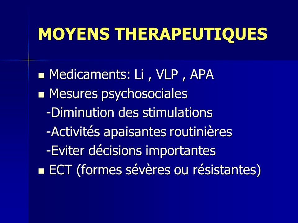 MOYENS THERAPEUTIQUES Medicaments: Li, VLP, APA Medicaments: Li, VLP, APA Mesures psychosociales Mesures psychosociales -Diminution des stimulations -Diminution des stimulations -Activités apaisantes routinières -Activités apaisantes routinières -Eviter décisions importantes -Eviter décisions importantes ECT (formes sévères ou résistantes) ECT (formes sévères ou résistantes)