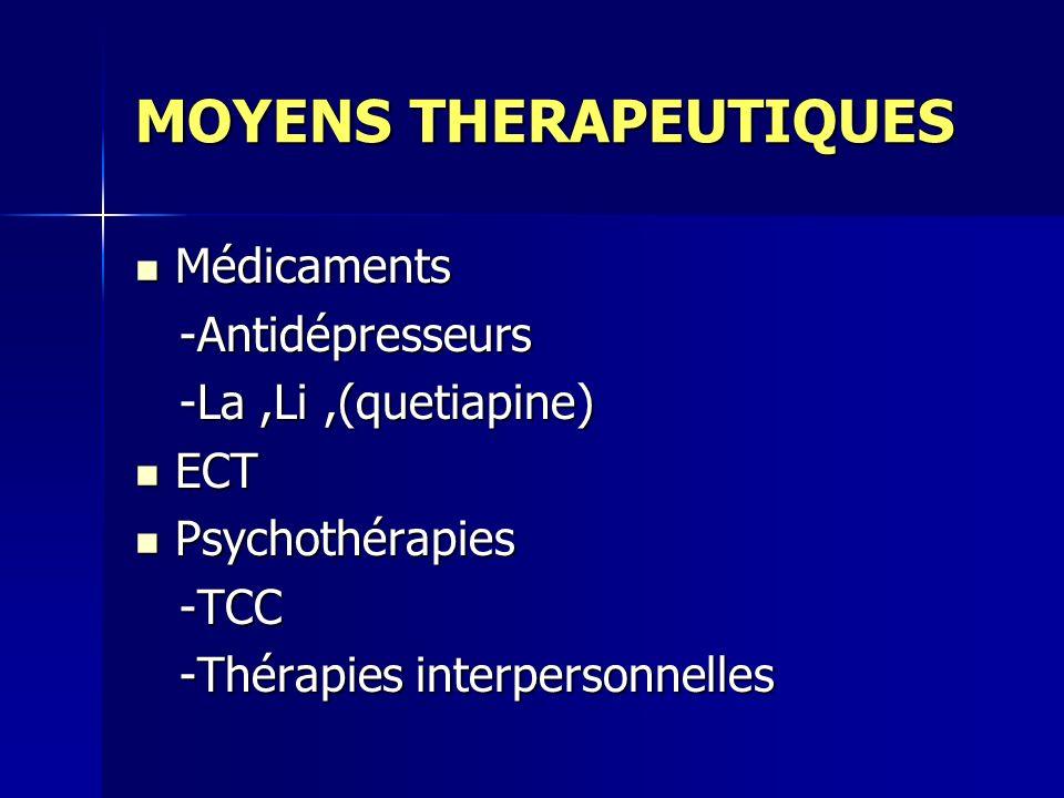 MOYENS THERAPEUTIQUES Médicaments Médicaments -Antidépresseurs -Antidépresseurs -La,Li,(quetiapine) -La,Li,(quetiapine) ECT ECT Psychothérapies Psychothérapies -TCC -TCC -Thérapies interpersonnelles -Thérapies interpersonnelles