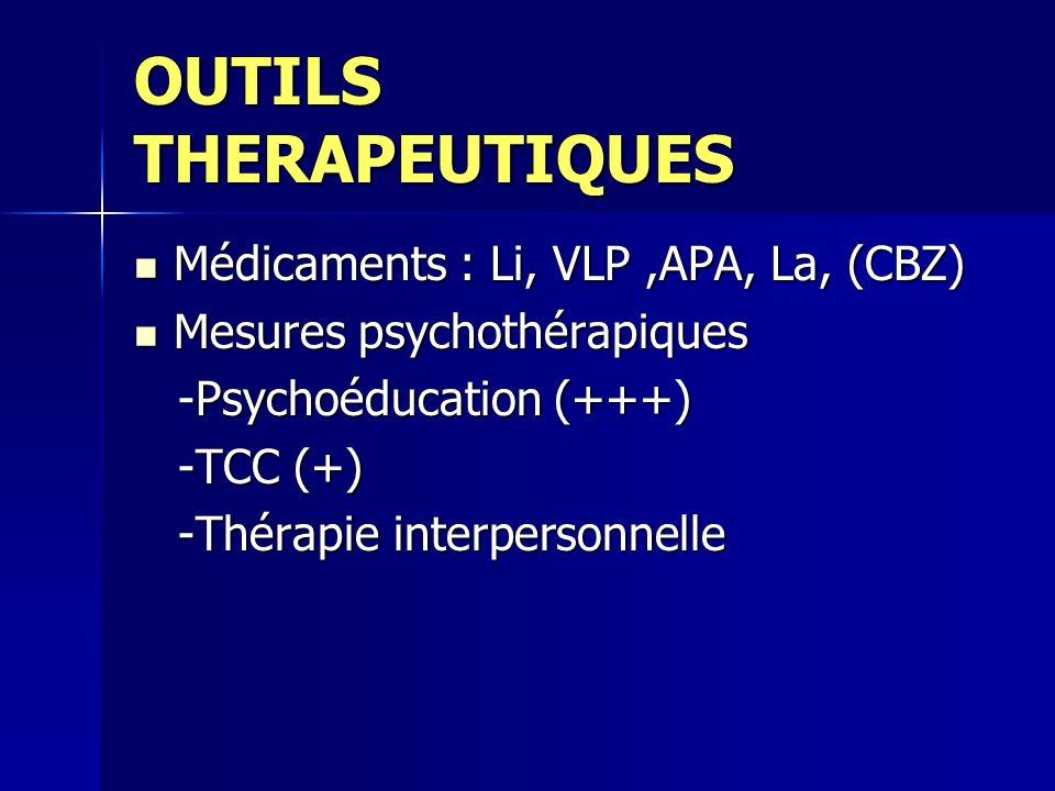 OUTILS THERAPEUTIQUES Médicaments : Li, VLP,APA, La, (CBZ) Médicaments : Li, VLP,APA, La, (CBZ) Mesures psychothérapiques Mesures psychothérapiques -P