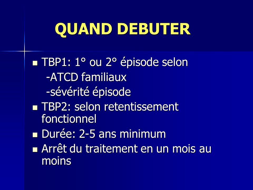 QUAND DEBUTER QUAND DEBUTER TBP1: 1° ou 2° épisode selon TBP1: 1° ou 2° épisode selon -ATCD familiaux -ATCD familiaux -sévérité épisode -sévérité épis