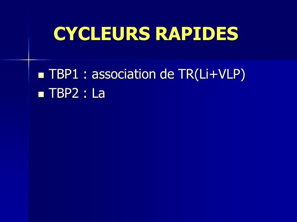 CYCLEURS RAPIDES CYCLEURS RAPIDES TBP1 : association de TR(Li+VLP) TBP1 : association de TR(Li+VLP) TBP2 : La TBP2 : La