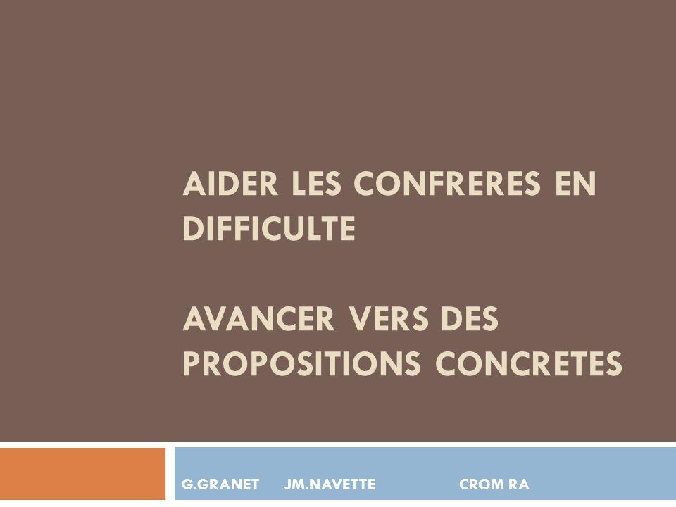 AIDER LES CONFRERES EN DIFFICULTE AVANCER VERS DES PROPOSITIONS CONCRETES G.GRANET JM.NAVETTE CROM RA
