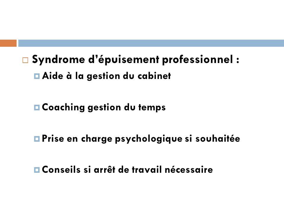 Syndrome dépuisement professionnel : Aide à la gestion du cabinet Coaching gestion du temps Prise en charge psychologique si souhaitée Conseils si arrêt de travail nécessaire