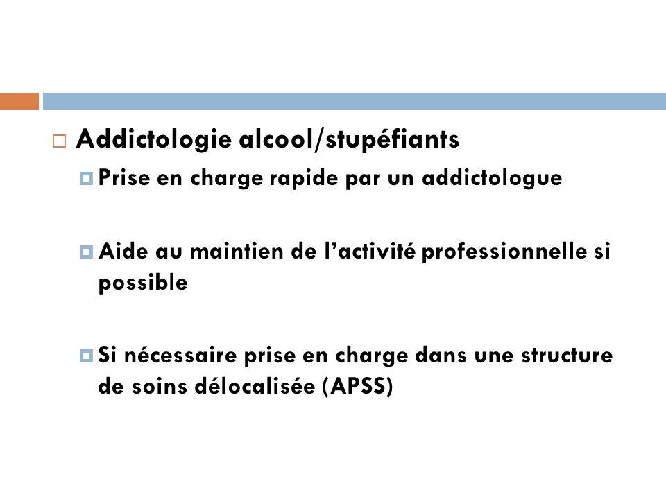 Addictologie alcool/stupéfiants Prise en charge rapide par un addictologue Aide au maintien de lactivité professionnelle si possible Si nécessaire prise en charge dans une structure de soins délocalisée (APSS)