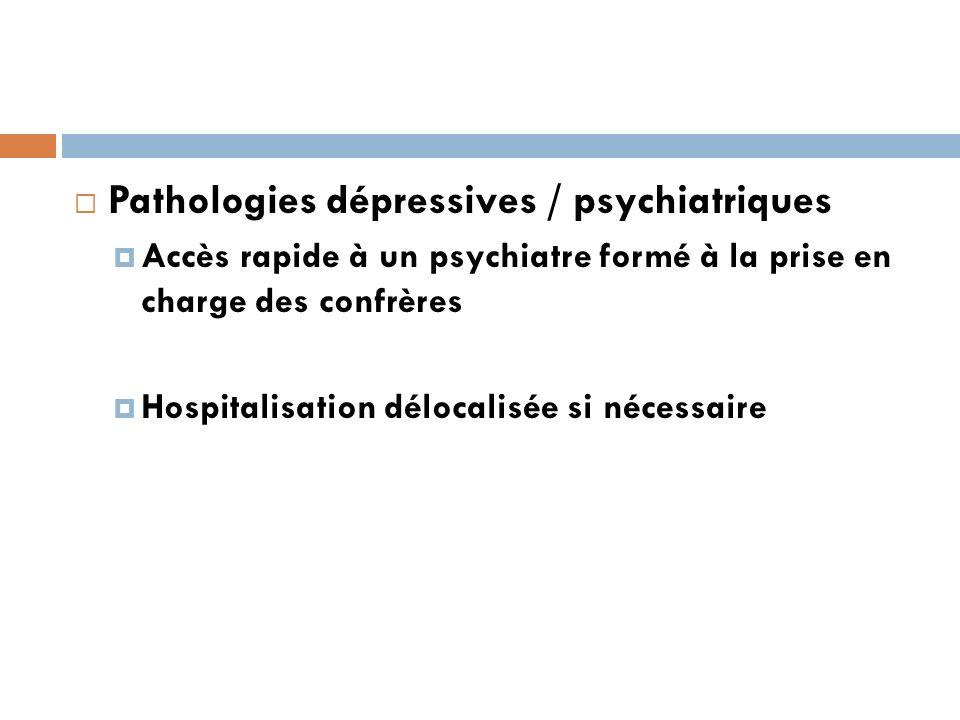 Pathologies dépressives / psychiatriques Accès rapide à un psychiatre formé à la prise en charge des confrères Hospitalisation délocalisée si nécessaire