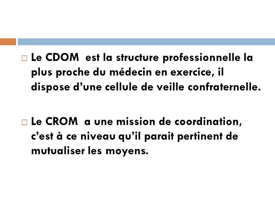 Le CDOM est la structure professionnelle la plus proche du médecin en exercice, il dispose dune cellule de veille confraternelle.