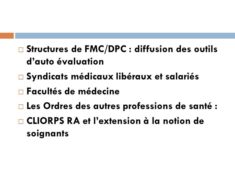 Structures de FMC/DPC : diffusion des outils dauto évaluation Syndicats médicaux libéraux et salariés Facultés de médecine Les Ordres des autres professions de santé : CLIORPS RA et lextension à la notion de soignants