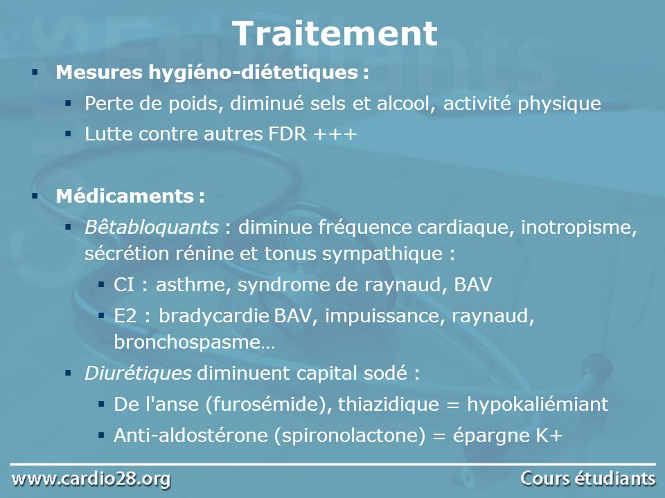 Inhibiteur de l enzyme de conversion (et diminue angiotensine 2) d où vasodilatation CI stenose bilatérale de artére rénale E2 Ins rénale, hypoTA, hyperkaliémie, toux+++ Inhibiteurs calciques : 2 types: Dihydropyridine (vasodilatateur pure) et autres (bradycardisant) E2 : céphalée, oedème des jambes hypoTA Inhibiteur de l angiotensine 2 E idem au IEC sauf toux Action centrale (diminue tonus sympathique) E2 : sécheresse buccale, Tb de libido, HypoTA..