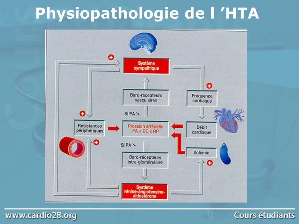 Clinique Signes fonctionnels : céphalées, acouphènes, épistaxis Retentissement de l HTA sur organe cible : Cœur : HVG, insuffisance cardiaque, angor Vaisseaux : athérome, Dissection aortique Œil : avec rétinopathie hypertensive : hémorragie rétinienne et oedème papillaire Cérébrale : AVC ischémique et hémorragique Néphrologique : Néphropathie glomérulaire avec protéinurie, insuffisance rénale.