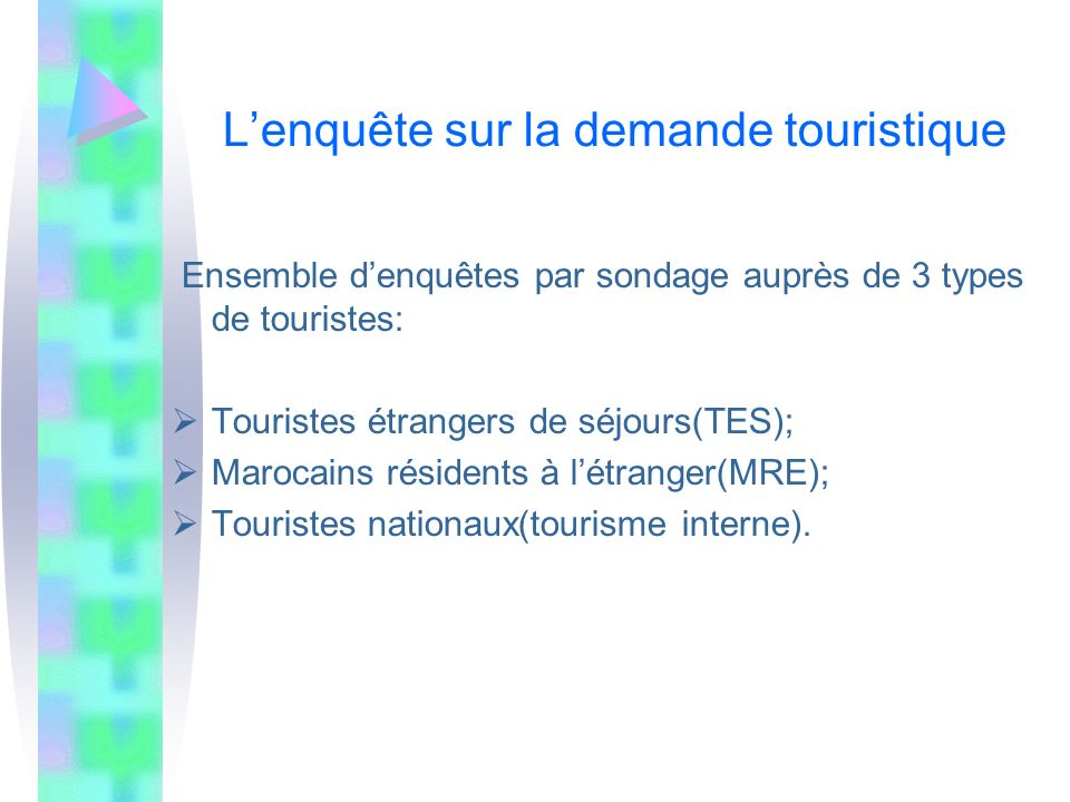 Lenquête sur la demande touristique Ensemble denquêtes par sondage auprès de 3 types de touristes: Touristes étrangers de séjours(TES); Marocains rési