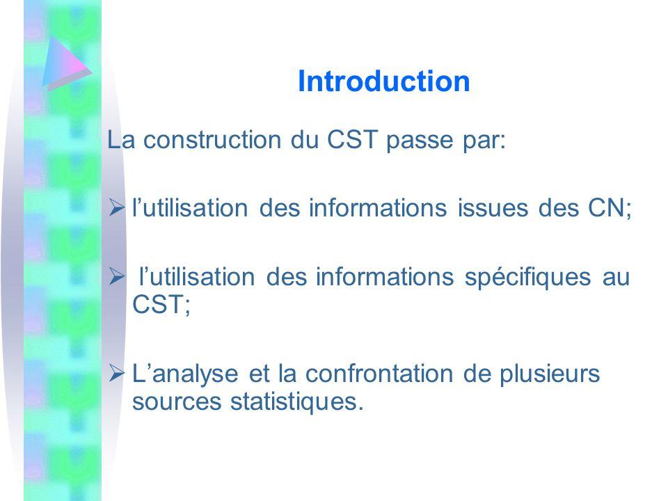 Introduction La construction du CST passe par: lutilisation des informations issues des CN; lutilisation des informations spécifiques au CST; Lanalyse