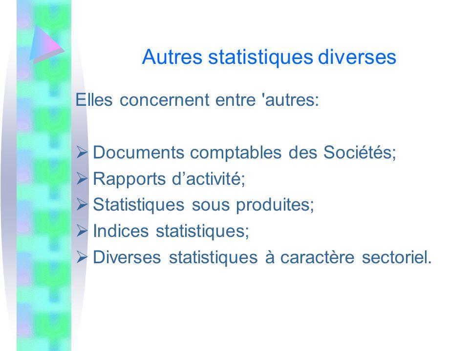 Autres statistiques diverses Elles concernent entre 'autres: Documents comptables des Sociétés; Rapports dactivité; Statistiques sous produites; Indic