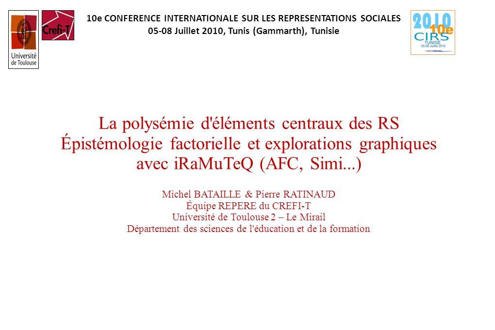 10e CONFERENCE INTERNATIONALE SUR LES REPRESENTATIONS SOCIALES 05-08 Juillet 2010, Tunis (Gammarth), Tunisie La polysémie d'éléments centraux des RS É