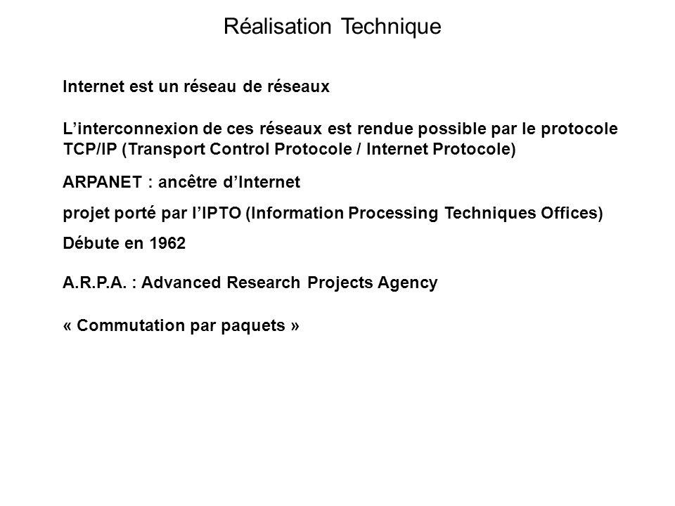 Réalisation Technique Internet est un réseau de réseaux Linterconnexion de ces réseaux est rendue possible par le protocole TCP/IP (Transport Control Protocole / Internet Protocole) ARPANET : ancêtre dInternet projet porté par lIPTO (Information Processing Techniques Offices) Débute en 1962 A.R.P.A.