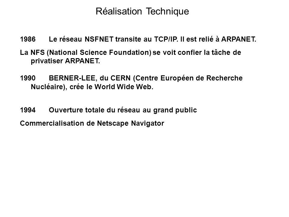 Réalisation Technique 1986 Le réseau NSFNET transite au TCP/IP.