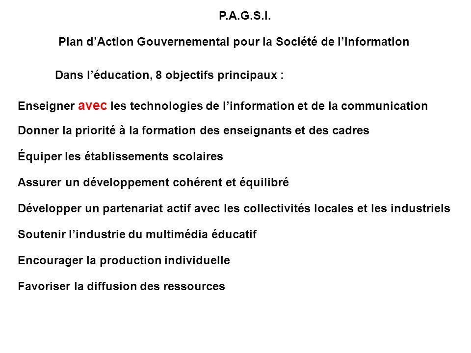 P.A.G.S.I. Plan dAction Gouvernemental pour la Société de lInformation Dans léducation, 8 objectifs principaux : Enseigner avec les technologies de li
