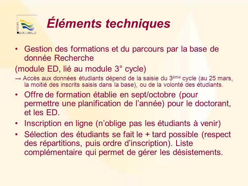 Éléments techniques Gestion des formations et du parcours par la base de donnée Recherche (module ED, lié au module 3° cycle) Accès aux données étudia