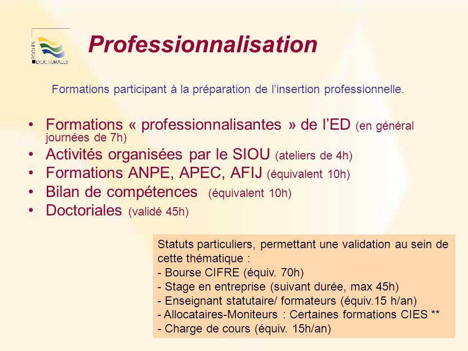 Professionnalisation Formations participant à la préparation de linsertion professionnelle.
