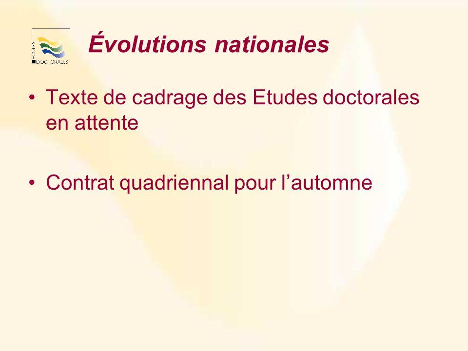 Évolutions nationales Texte de cadrage des Etudes doctorales en attente Contrat quadriennal pour lautomne