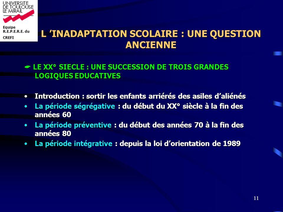 Equipe R.E.P.E.R.E. du CREFI 11 L INADAPTATION SCOLAIRE : UNE QUESTION ANCIENNE LE XX° SIECLE : UNE SUCCESSION DE TROIS GRANDES LOGIQUES EDUCATIVES LE