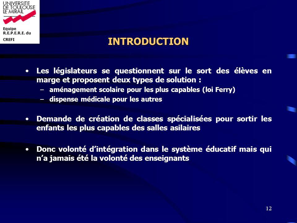 Equipe R.E.P.E.R.E. du CREFI 12 INTRODUCTION Les législateurs se questionnent sur le sort des élèves en marge et proposent deux types de solution : –a