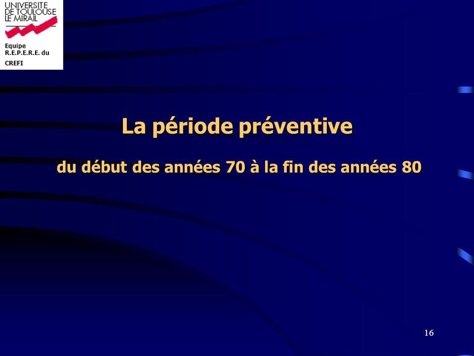 Equipe R.E.P.E.R.E. du CREFI 16 La période préventive du début des années 70 à la fin des années 80