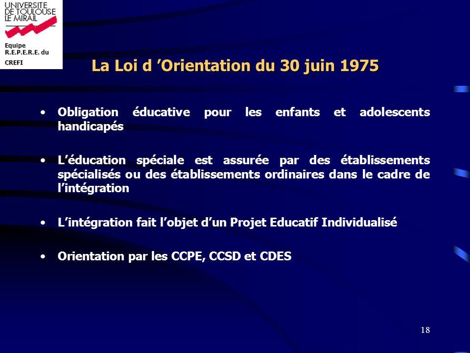 Equipe R.E.P.E.R.E. du CREFI 18 La Loi d Orientation du 30 juin 1975 Obligation éducative pour les enfants et adolescents handicapés Léducation spécia