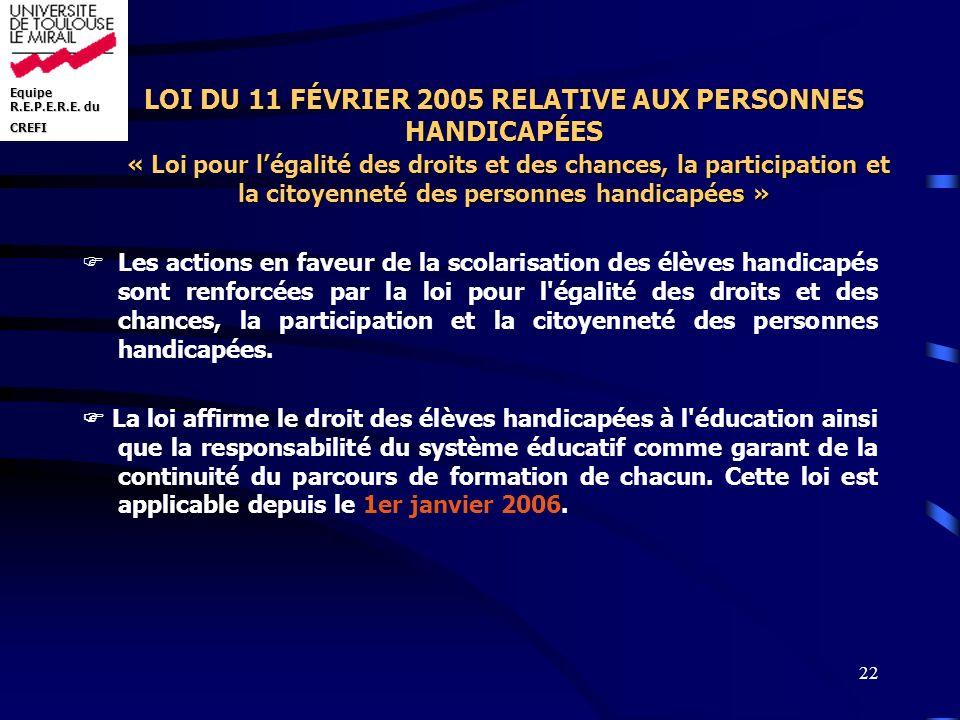 Equipe R.E.P.E.R.E. du CREFI 22 LOI DU 11 FÉVRIER 2005 RELATIVE AUX PERSONNES HANDICAPÉES « Loi pour légalité des droits et des chances, la participat