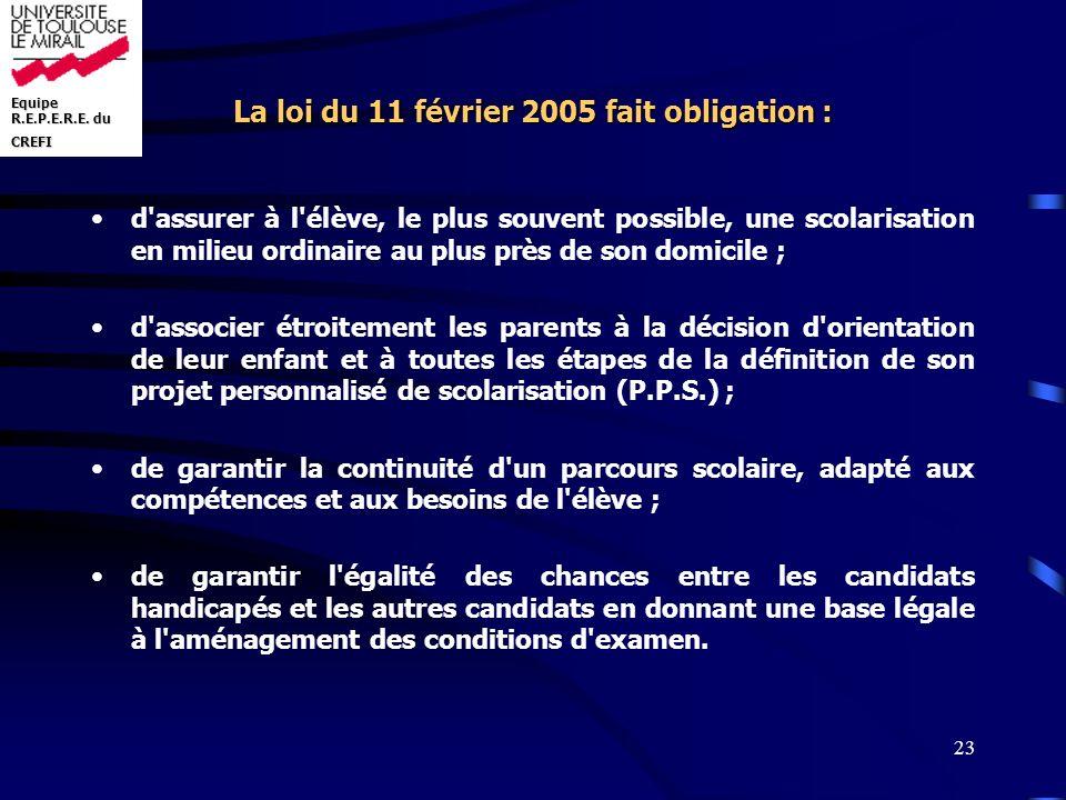 Equipe R.E.P.E.R.E. du CREFI 23 La loi du 11 février 2005 fait obligation : d'assurer à l'élève, le plus souvent possible, une scolarisation en milieu