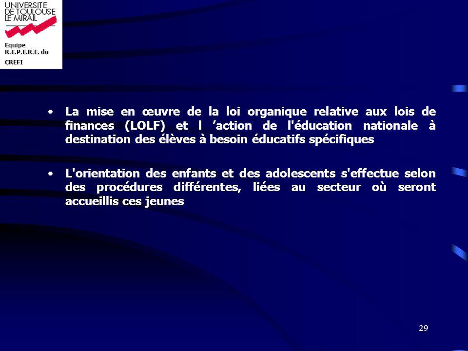 Equipe R.E.P.E.R.E. du CREFI 29 La mise en œuvre de la loi organique relative aux lois de finances (LOLF) et l action de l'éducation nationale à desti
