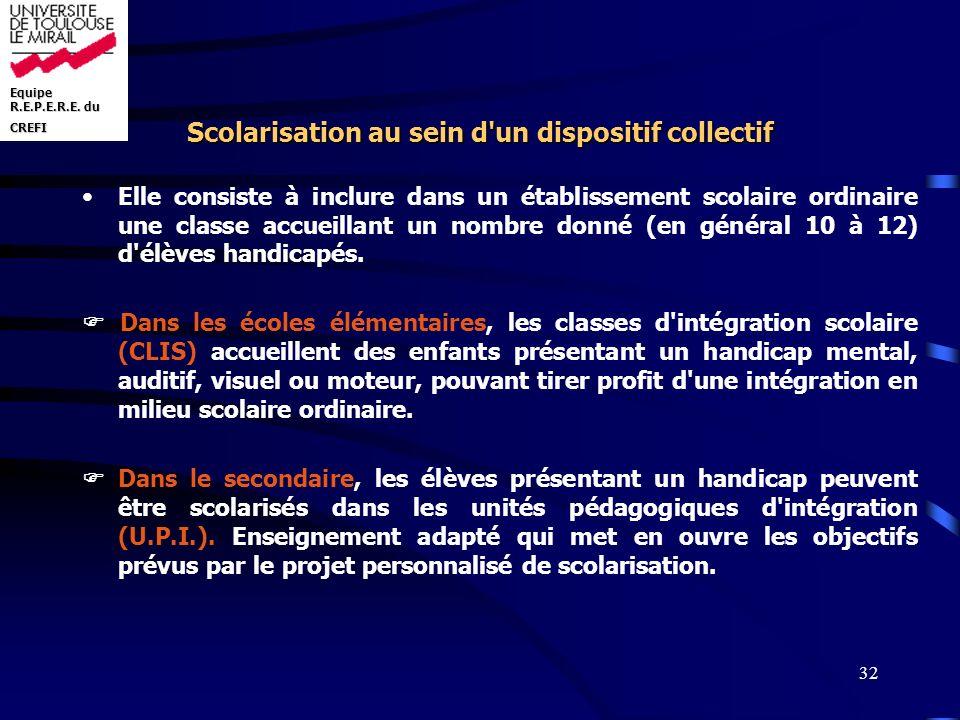 Equipe R.E.P.E.R.E. du CREFI 32 Scolarisation au sein d'un dispositif collectif Elle consiste à inclure dans un établissement scolaire ordinaire une c
