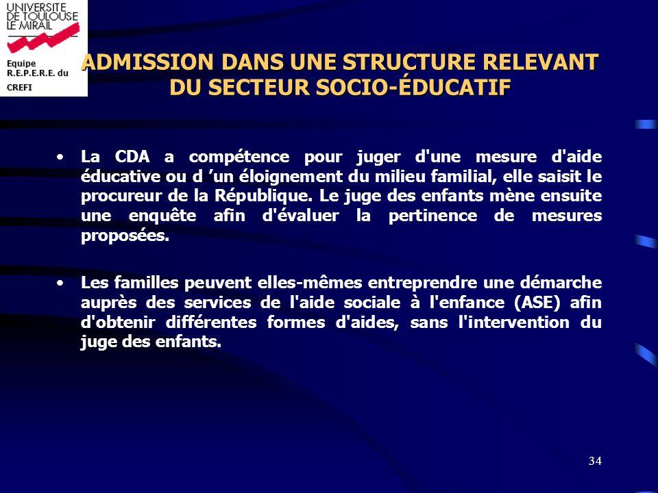 Equipe R.E.P.E.R.E. du CREFI 34 ADMISSION DANS UNE STRUCTURE RELEVANT DU SECTEUR SOCIO-ÉDUCATIF La CDA a compétence pour juger d'une mesure d'aide édu