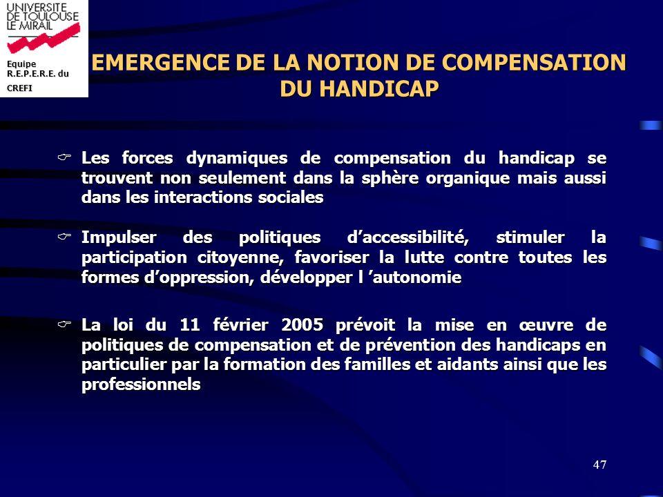 Equipe R.E.P.E.R.E. du CREFI 47 EMERGENCE DE LA NOTION DE COMPENSATION DU HANDICAP Les forces dynamiques de compensation du handicap se trouvent non s
