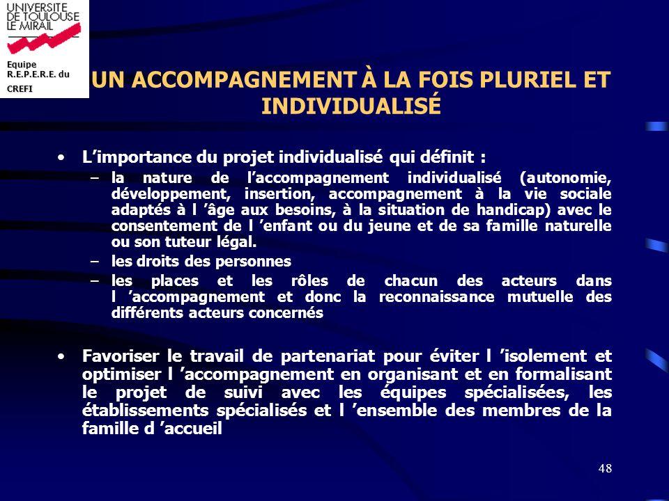 Equipe R.E.P.E.R.E. du CREFI 48 UN ACCOMPAGNEMENT À LA FOIS PLURIEL ET INDIVIDUALISÉ Limportance du projet individualisé qui définit : –la nature de l