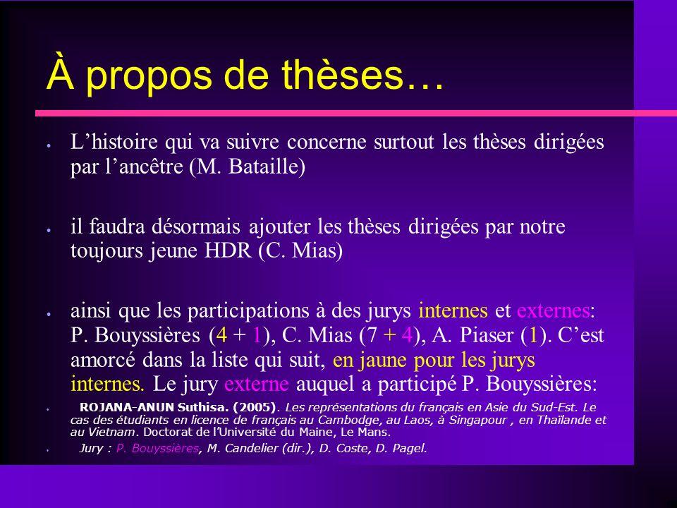 À propos de thèses… Lhistoire qui va suivre concerne surtout les thèses dirigées par lancêtre (M.