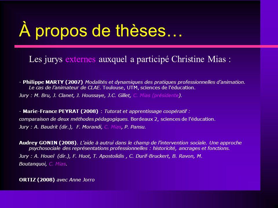 À propos de thèses… Les jurys externes auxquel a participé Christine Mias : - Philippe MARTY (2007) Modalités et dynamiques des pratiques professionnelles danimation.
