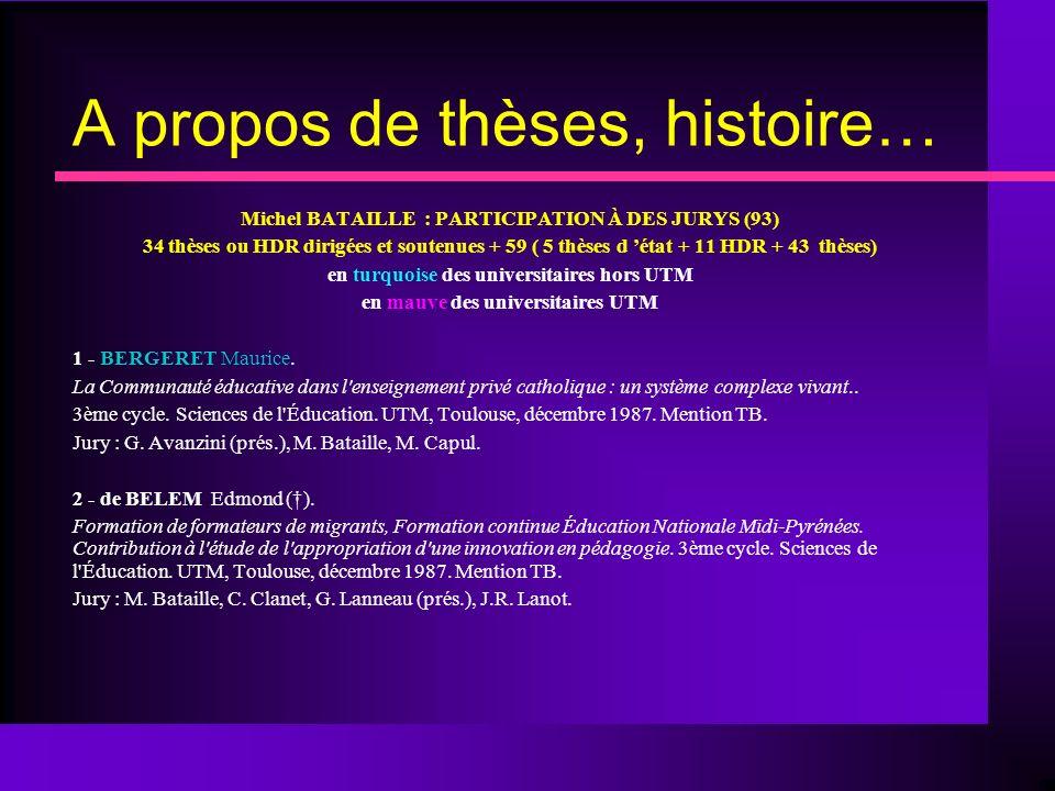 A propos de thèses, histoire… Michel BATAILLE : PARTICIPATION À DES JURYS (93) 34 thèses ou HDR dirigées et soutenues + 59 ( 5 thèses d état + 11 HDR + 43 thèses) en turquoise des universitaires hors UTM en mauve des universitaires UTM 1 - BERGERET Maurice.