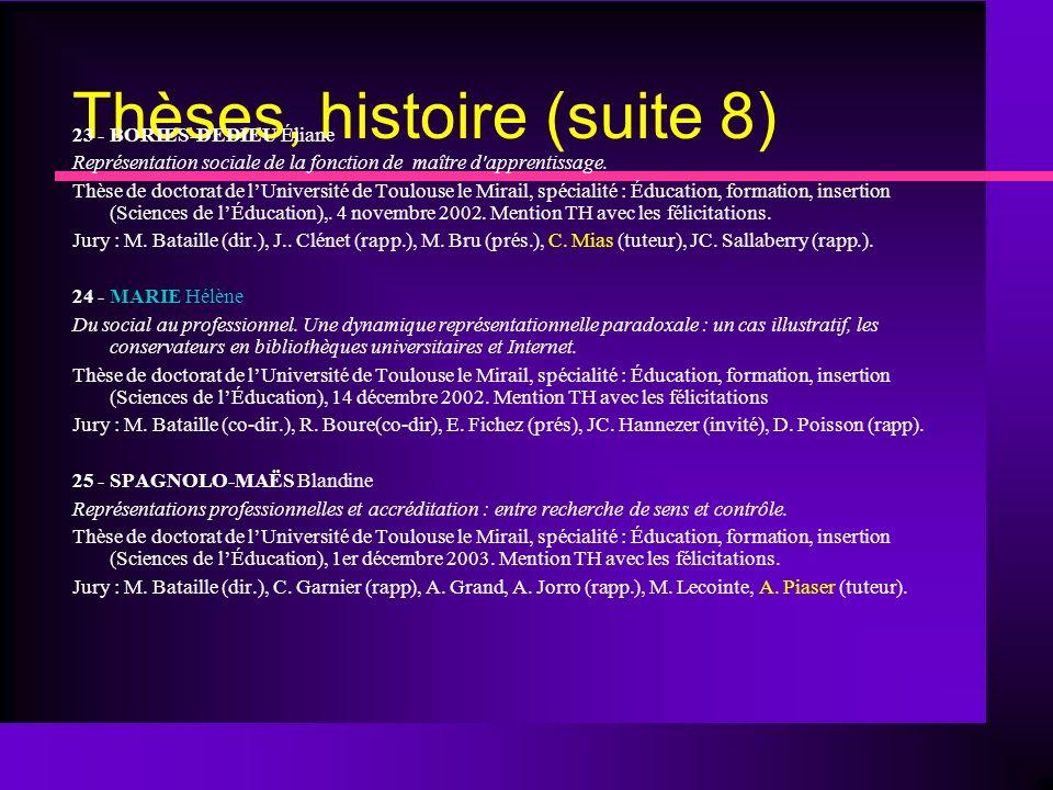 Thèses, histoire (suite 8) 23 - BORIES-DEDIEU Éliane Représentation sociale de la fonction de maître d apprentissage.